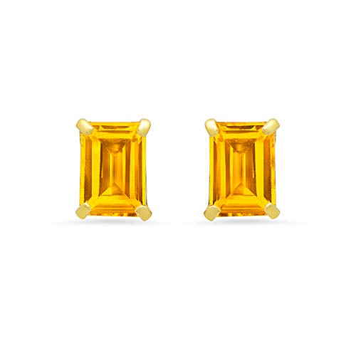 14k White or Yellow Gold Solitaire Emerald-Cut Citrine Stud Earrings (7x5mm) ()