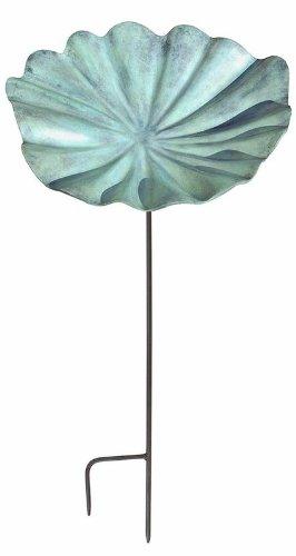 Leaf Birdbath - Achla Designs Large Lily Leaf Birdbath and Feeder with Stake, Large