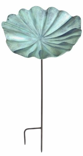 Achla Designs Large Lily Leaf Birdbath and Feeder with Stake, Large