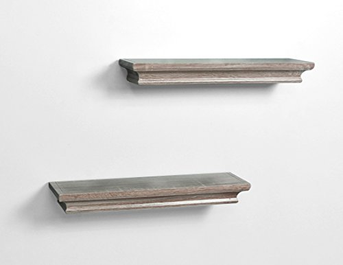 AHDECOR Floating Shelves Ledge Shelf Grey Wash (4 Inches Deep, Set of 2pcs) - Small shelves are great for small items, read the DEEP DIMENSION carefully Beautiful wall shelf makes space utilization efficient and great for home, office & dorm, decorative and functional These wall display shelves are made of High-quality MDF with laminated - wall-shelves, living-room-furniture, living-room - 318aY2MCBsL -
