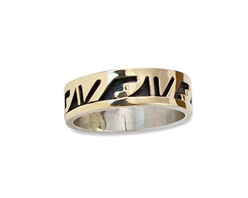na Navajo Overlay 14K Silver Wedding Band Ring Size 10