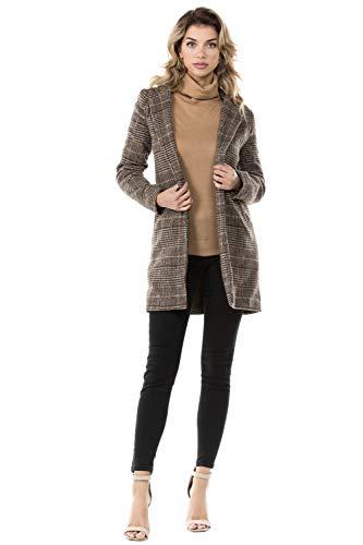 Women's Plaid Blazer Jacket, Large, Brown