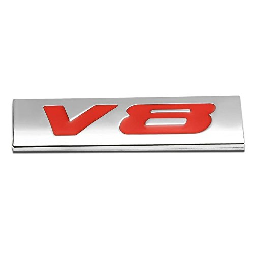 Bermuda Yukon Gmc (UrMarketOutlet V8 Red/Chrome Aluminum Alloy Auto Trunk Door Fender Bumper Badge Decal Emblem Adhesive Tape Sticker)