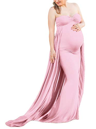 Maternity Gown Fitted Maxi Gown, Long Maternity Tube Dress Photography for Photo Shoot, Baby Shower (L, Pink)