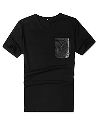 Allegra K Men Casual Pocket Tee Shirts Summer V Neck T-Shirts