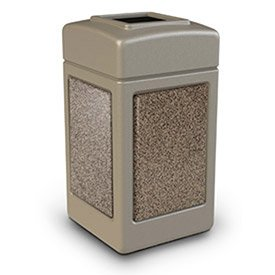 Stonetec Stone Panel Receptacles - 42 Gallons - Funnel Top - Beige/Riverstone - Beige/Riverstone (Funnel Top Receptacle)