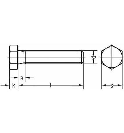 Reidl Sechskantschrauben mit Gewinde bis Kopf 10 x 40 mm DIN 933 8.8 galv verzinkt farblos 100 St/ück