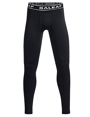 - Baleaf Youth Boys' Compression Thermal Baselayer Tights Fleece Leggings Black Size S