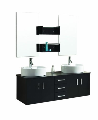 Virtu USA UM-3053-ES Enya 60-Inch Wall-Mounted Double Sink Bathroom Vanity with Ceramic Basins, Chrome Faucets, Espresso Finish by Virtu USA (Image #5)