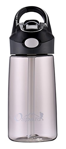 14 Ounce Polyester - OSPARD Kid & Adult Water Bottle with Hook 14 oz Non-Toxic BPA Free Eco-Friendly Co-Polyester Plastic Water Container A8 Black