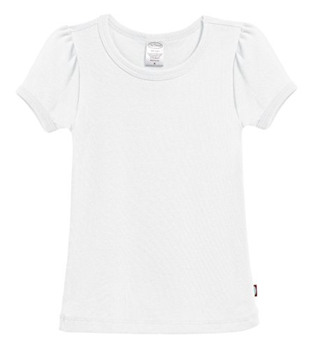 City Threads Little Girls' Baby Rib Cotton Short Sleeve Puff Fashion Shirt Tee Tshirt Blouse, White, 6