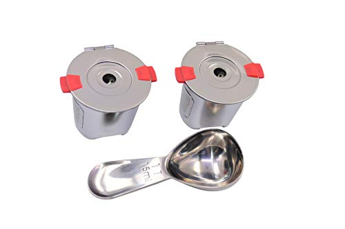 Stainless steel Reusable k cups for keurig 1.0&2.0 coffee maker Universal Refillable k-cups reusable Keurig filter BPA FREE(2pack with spoon)