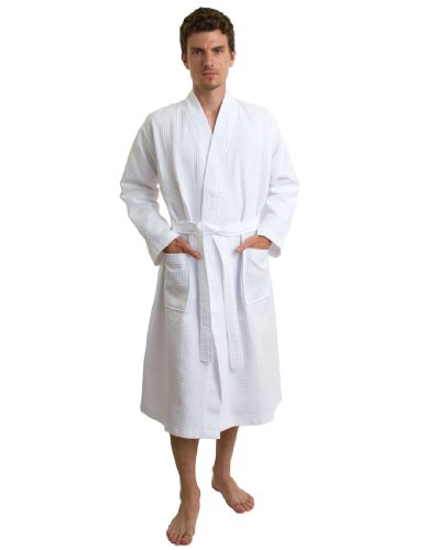 TowelSelections Men's Waffle Bathrobe Turkish Cotton Kimono Robe Medium/Large White by TowelSelections