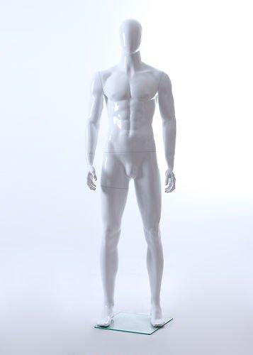 Male Full Body Fiberglass Abstract Egg Head Mannequin Glossy White (White Glossy Glass)