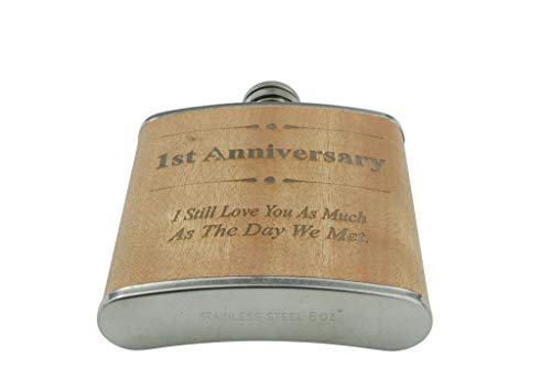 1st Anniversary Hip Flask 1 Year Anniversary Gift For Him