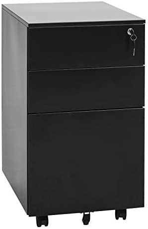 INVIE 3 Drawer Fille Cabinet, Mobile File Cabinet with Lock, Metal Vertical File Cabinet Rolling Metal Filing Cabinet with Hanging File Frame Black C