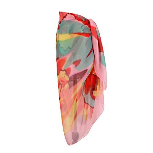 MissShorthair Womens Chiffon Swimwear Plus Size Bathing Suit Cover Ups Beach Sarong Wrap (99 Pink, One Size)