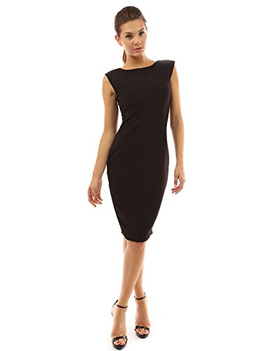 PattyBoutik Women's Boat Neck Sleeveless Sheath Dress (Black M) (Sleeveless Sheath)