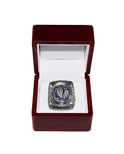 DALLAS MAVERICKS (Dirk Nowitzki) 2011 NBA FINAL WORLD CHAMPIONS (Vs. Miami Heat) Rare Collectible Replica National Basketball Association Silver Championship Ring with Cherrywood Display Box (Nba Finals 2011)