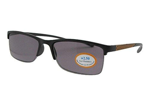 Style R41 Slim Shape Reading Sunglasses With Sunglass Rage Pouch (Black/Gold Frame-Gray Lenses, - Semi Lens Full