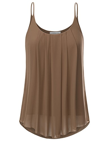 JJ Perfection Women's Pleated Chiffon Layered Cami Tank Top Taupe S ()