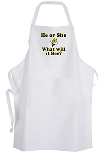 He or She What will it Bee? Adult Size Apron - Gender Reveal New Baby -