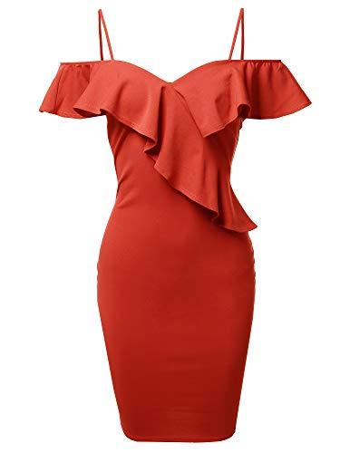 Sexy Off Shoulder Ruffle Accent Midi Dress - Made in USA Orange Size L