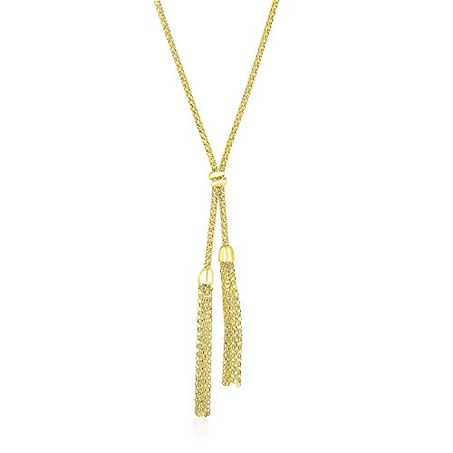 14K Yellow Gold Popcorn Chain Necklace with Lariat Design (Gold 14k Chain Yellow Popcorn)