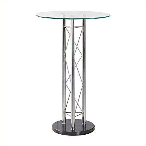 Global Furniture Bar Table, Clear/Black/Chrome by Global Furniture USA