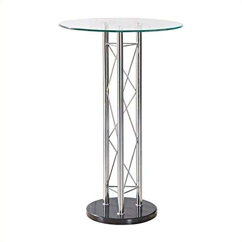 Global Furniture Bar Table, Clear/Black/Chrome (Top Counter Height Glass Table Round)