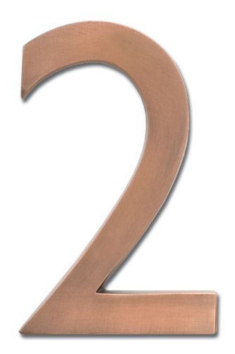 Architectural Mailboxes 3582AC-2 Brass 4-Inch Floating House Number, Antique Copper (Brass 2 Inch House)
