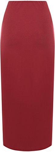 WearAll - Damen Übergröße einfachen langes gummizug Maxi Rock - Größe 42-56 Wein mmaaI