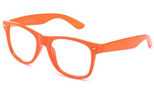 Clear Lens Fashion Fun Nerd Cosplay Geek Colors Rainbow Multi Color BUY 3 GET 50% OFF! C Neon Orange