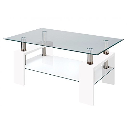 Fab Glass and Mirror Modern Glass Coffee Table with Shelf Contemporary Living Room, White (Shelf Mirror Room)
