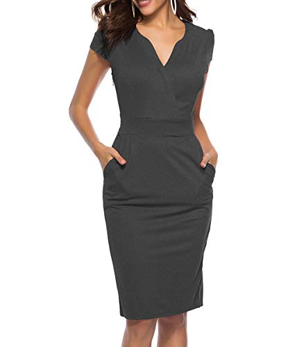 CEASIKERY Women's Business Retro Cocktail Pencil Wear to Work Office Casual Dress ((US) Small, Dark Gray)