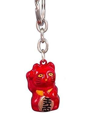 Pamai Pai® Llavero Rojo Gato de la Suerte Maneki Neko Gato de Gato Suerte Colgante: Amazon.es: Juguetes y juegos