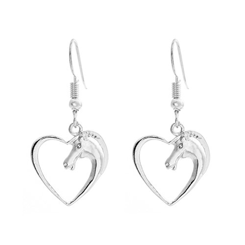 Sterling Silver Plated &18K Gold Plated Hollow Peach Heart Horse Head Charm Dangle Earring (White Gold Plated Earring)