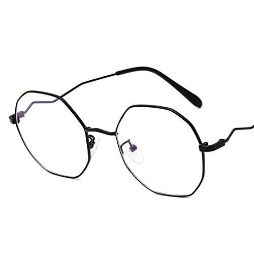 Mkulxina Monture Polygonales Silver Vague Jambes Sans Lunettes color Black Miroir Prescription rw7AxErq