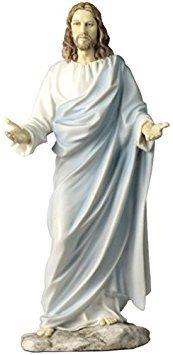 - 11.75 Inch Jesus with Open Arms Decorative Statue Figurine, White