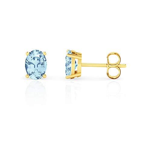 14K White Gold Oval Cut Genuine Aquamarine Stud Earrings (7x5mm)