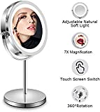 Lighted Magnifying Makeup Mirror - 7 Inch LED Vanity Mirror 1x / 7x Magnification Eye Makeup Mirror- Easy Touch Screen Adjustable Light, Vanity Mirror With Premium Polished Chrome Travel Mirror