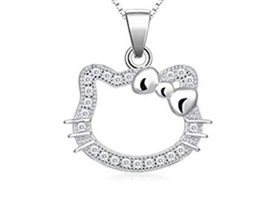 Weishu Cute Real 925 Sterling Silver Cat Pendant Necklace Rhinestone Butterfly Pendant Kitty Disney Sterling Silver Silhouette Pendant Necklace