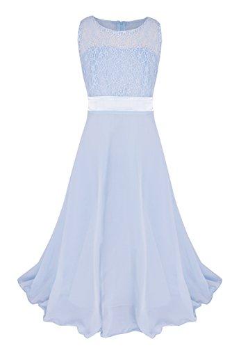 f249b0cb9a1d YiZYiF Kids Big Girls Lace Maxi Long Pageant Wedding Formal Chiffon Dress