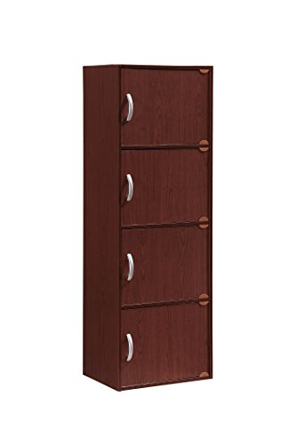 HODEDAH IMPORT Hodedah 4 Door, Four Shleves, Enclosed Storage Cabinet, Mahogany by HODEDAH IMPORT