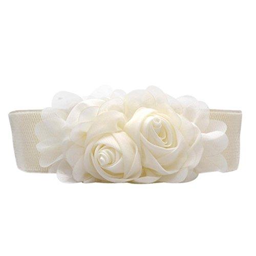 (Creazy Elastic Waistband Chiffon Roses (White))