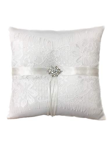 Toshine Wedding Ring Bearer Pillow French Eyelash Lace Decoration Cushion Ring Bearer Pillow for Wedding Ring (8.3 X 8.3 -