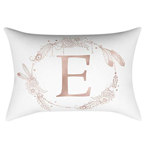 Price comparison product image Kofun 30x50cm Rectangle Throw Pillow Case Rose Gold Alphabet Letter Wreath Feather Printed Cushion Cover Polyester Peach Velvet Kids Bedroom Decorative E#