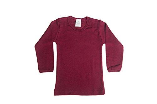 Big Girls Wool-Silk Long-Sleeved Undershirt, Bordeaux, s. 128/8 yr