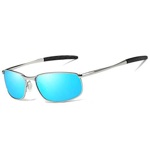 FEIDU Sport Polarized Sunglasses for Men Stylish HD Lens Metal Frame Men's Sunglasses FD 9005 (Blue/Silver, - Blue Lenses