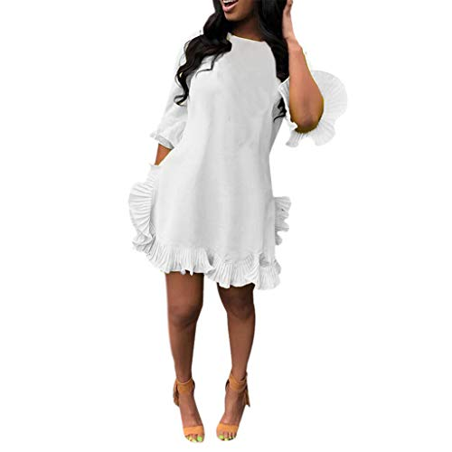 Goddessvan 2019 Sexy Women's Leisure Solid Pleated Irregular Ruffled Skirt Fit and Flare Dress Clubwear White